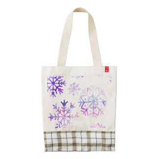 Purple Watercolor Snowflake Christmas Design Zazzle HEART Tote Bag