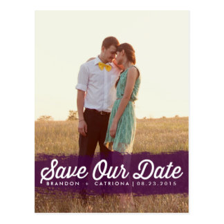 PURPLE WATERCOLOR SPLASH | SAVE THE DATE POSTCARD