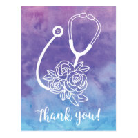 Purple Watercolor Stethoscope Doctor Thank You Postcard