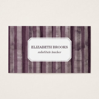 Purple Watercolor Stripes Business Card