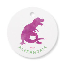 Purple Watercolor T-Rex Dinosaur From Birthday Favor Tags