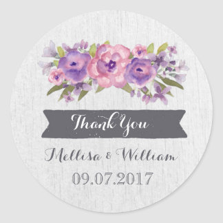 Purple Watercolor Vintage Floral Wedding Favor Tag