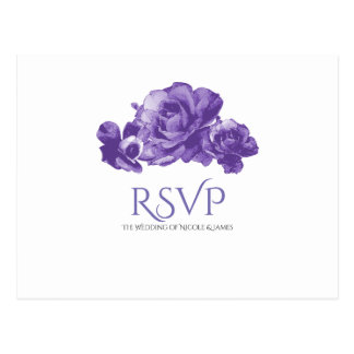 Purple Watercolor Vintage Roses Elegant RSVP Postcard