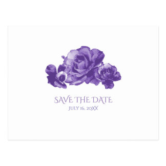 Purple Watercolor Vintage Roses Save The Date Postcard