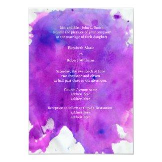 Purple Watercolor Wedding 5x7 Paper Invitation Card