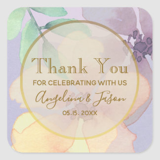 Purple Watercolor Wedding Favor Thank You Sticker