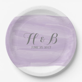 Purple Watercolor Wedding Paper Plates 9 Inch Paper Plate
