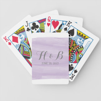 Purple Watercolor Wedding Playing Cards