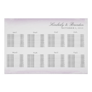 Purple Watercolor Wedding Seating Chart Poster
