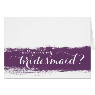 Purple Watercolor | Will You Be My Bridesmaid Card