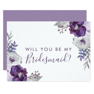 Purple Watercolor Will You Be My Bridesmaid Invitation