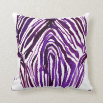 Purple Watercolor Zebra Throw Pillow