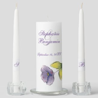 Purple Watercoloresque Flower Wedding Unity Candle Set