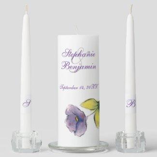 Purple Watercoloresque Flower Wedding Unity Candle Set