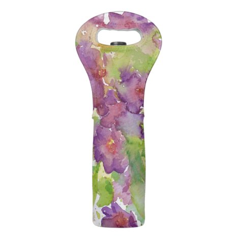 Purple watercolour flowers and green leaves wine bag
