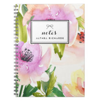 Purple Watercolour Lilies Floral Personalized Spiral Notebook