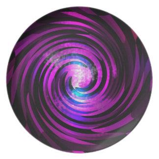 Purple Wave Abstraact Art Melamine Plate