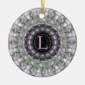 Purple Wave Star Monogram L Double-Sided Ceramic Round Christmas Ornament