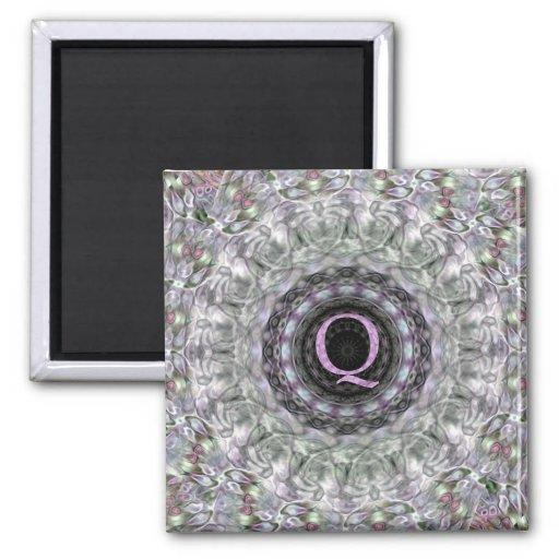 Purple Wave Star Monogram Q Refrigerator Magnet