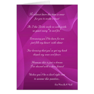 Purple Wave Will You Be My Bridesmaid Greeting Card