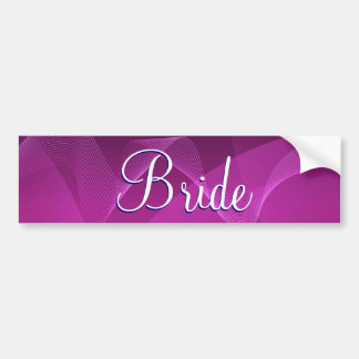 Purple Waves Bride Bumper Sticker