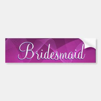 Purple Waves Bridesmaid Bumper Sticker