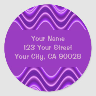 purple waves classic round sticker