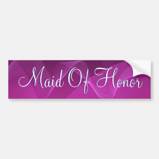 Purple Waves Maid Of Honor Car Bumper Sticker