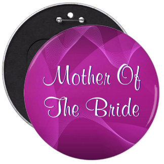 Purple Waves Mother Of The Bride Pinback Button