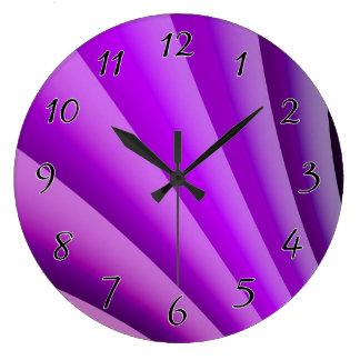 Purple Waves of Pain Art Large Clock