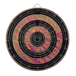 Purple Waves Print  on Satin Silk Black Wheels Dartboards