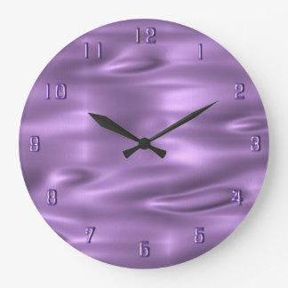 Purple Waves Purple Numbers Wall Clock