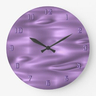 Purple Waves Purple Numbers Wall Clock