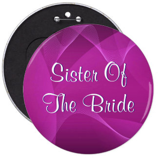 Purple Waves Sister Of The Bride Pinback Button