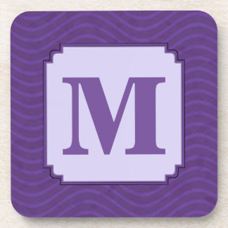 Purple Wavy Lines Pattern Drink Coaster
