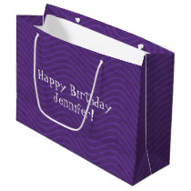 Purple Wavy Lines Pattern Large Gift Bag