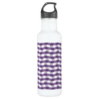Purple Wavy Stripes Pattern Water Bottle