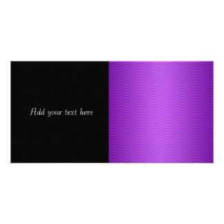 Purple Wavy Stripes Customized Photo Card