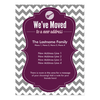Purple We ve Moved Change of Address Postcards