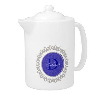 Purple Weave Glitzy Monogram Teapot