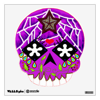 "purple webbed ""sugar skull"" wall decal"