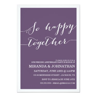 Purple Wedding Anniversary Invitations