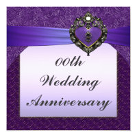 Purple Wedding Anniversary Party Invitation