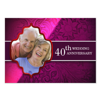 purple wedding anniversary photo invitations