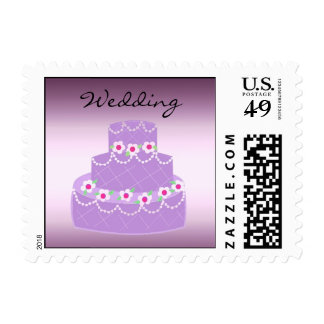 Purple Wedding Cake Postage Stamps