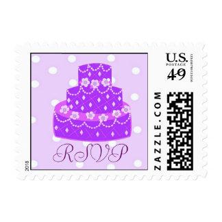 Purple Wedding Cake RSVP Postage
