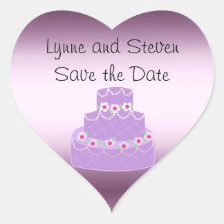 Purple Wedding Cake Save the Date Heart Sticker
