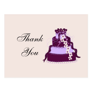 Purple Wedding Cake Thank You Postcard
