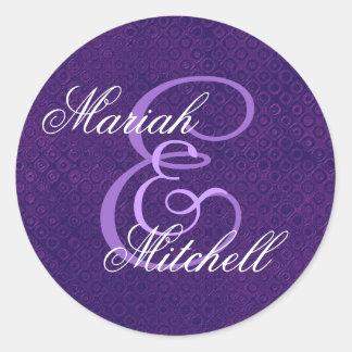 Purple Wedding Custom Monogram E or Any Initial 10 Classic Round Sticker