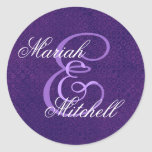 Purple Wedding Custom Monogram E or Any Initial 10 Sticker